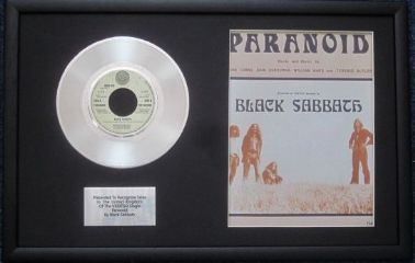"BLACK SABBATH - 7"" Platinum Disc & Song Sheet - PARANOID"